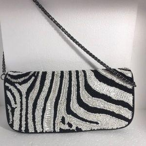 Leather Beaded Zebra Bag